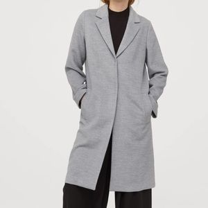 H&M Gray Long Trench Coat Jacket Size 10